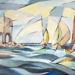 Barche alla Meloria (li9-acrilico su tavola-50x70cm