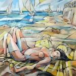 Bagnante alla terrazza Mascagni(Li)-acrilico ru tavola-87x87cm